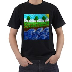 Beaded Landscape Textured Abstract Landscape With Sea Waves In The Foreground And Trees In The Background Men s T Shirt (black) (two Sided)