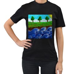 Beaded Landscape Textured Abstract Landscape With Sea Waves In The Foreground And Trees In The Background Women s T Shirt (black) (two Sided)