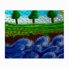 Beaded Landscape Textured Abstract Landscape With Sea Waves In The Foreground And Trees In The Background Small Glasses Cloth