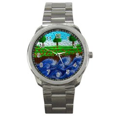 Beaded Landscape Textured Abstract Landscape With Sea Waves In The Foreground And Trees In The Background Sport Metal Watch by Nexatart