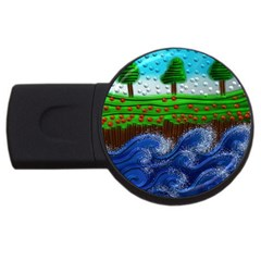 Beaded Landscape Textured Abstract Landscape With Sea Waves In The Foreground And Trees In The Background Usb Flash Drive Round (4 Gb)