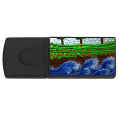 Beaded Landscape Textured Abstract Landscape With Sea Waves In The Foreground And Trees In The Background Usb Flash Drive Rectangular (4 Gb)