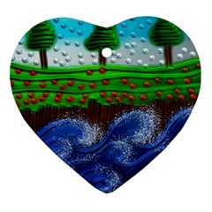 Beaded Landscape Textured Abstract Landscape With Sea Waves In The Foreground And Trees In The Background Heart Ornament (two Sides)