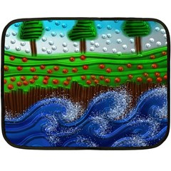 Beaded Landscape Textured Abstract Landscape With Sea Waves In The Foreground And Trees In The Background Double Sided Fleece Blanket (mini)