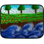 Beaded Landscape Textured Abstract Landscape With Sea Waves In The Foreground And Trees In The Background Double Sided Fleece Blanket (Mini)  35 x27 Blanket Back