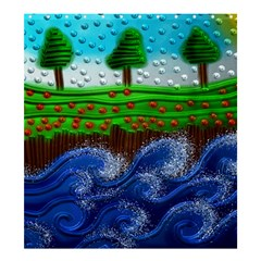 Beaded Landscape Textured Abstract Landscape With Sea Waves In The Foreground And Trees In The Background Shower Curtain 66  X 72  (large)