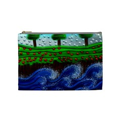 Beaded Landscape Textured Abstract Landscape With Sea Waves In The Foreground And Trees In The Background Cosmetic Bag (medium)  by Nexatart