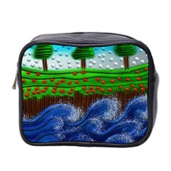 Beaded Landscape Textured Abstract Landscape With Sea Waves In The Foreground And Trees In The Background Mini Toiletries Bag 2 Side by Nexatart