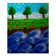 Beaded Landscape Textured Abstract Landscape With Sea Waves In The Foreground And Trees In The Background Shower Curtain 60  X 72  (medium)  by Nexatart