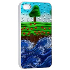 Beaded Landscape Textured Abstract Landscape With Sea Waves In The Foreground And Trees In The Background Apple Iphone 4/4s Seamless Case (white)