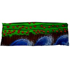 Beaded Landscape Textured Abstract Landscape With Sea Waves In The Foreground And Trees In The Background Body Pillow Case (dakimakura)