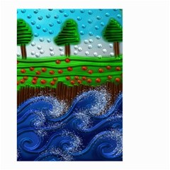 Beaded Landscape Textured Abstract Landscape With Sea Waves In The Foreground And Trees In The Background Small Garden Flag (two Sides)