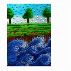 Beaded Landscape Textured Abstract Landscape With Sea Waves In The Foreground And Trees In The Background Large Garden Flag (two Sides)