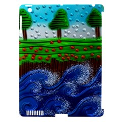 Beaded Landscape Textured Abstract Landscape With Sea Waves In The Foreground And Trees In The Background Apple Ipad 3/4 Hardshell Case (compatible With Smart Cover)