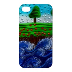 Beaded Landscape Textured Abstract Landscape With Sea Waves In The Foreground And Trees In The Background Apple Iphone 4/4s Premium Hardshell Case