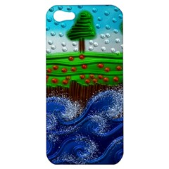 Beaded Landscape Textured Abstract Landscape With Sea Waves In The Foreground And Trees In The Background Apple Iphone 5 Hardshell Case