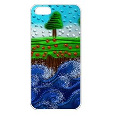 Beaded Landscape Textured Abstract Landscape With Sea Waves In The Foreground And Trees In The Background Apple Iphone 5 Seamless Case (white)