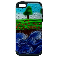 Beaded Landscape Textured Abstract Landscape With Sea Waves In The Foreground And Trees In The Background Apple Iphone 5 Hardshell Case (pc+silicone)
