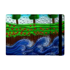 Beaded Landscape Textured Abstract Landscape With Sea Waves In The Foreground And Trees In The Background Apple Ipad Mini Flip Case