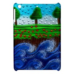 Beaded Landscape Textured Abstract Landscape With Sea Waves In The Foreground And Trees In The Background Apple Ipad Mini Hardshell Case