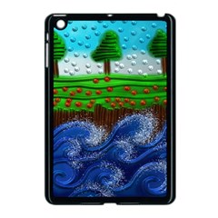 Beaded Landscape Textured Abstract Landscape With Sea Waves In The Foreground And Trees In The Background Apple Ipad Mini Case (black)