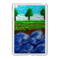 Beaded Landscape Textured Abstract Landscape With Sea Waves In The Foreground And Trees In The Background Apple Ipad Mini Case (white)