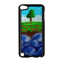 Beaded Landscape Textured Abstract Landscape With Sea Waves In The Foreground And Trees In The Background Apple Ipod Touch 5 Case (black)