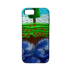 Beaded Landscape Textured Abstract Landscape With Sea Waves In The Foreground And Trees In The Background Apple Iphone 5 Classic Hardshell Case (pc+silicone)