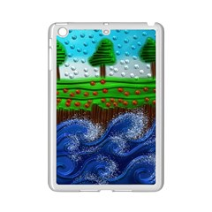 Beaded Landscape Textured Abstract Landscape With Sea Waves In The Foreground And Trees In The Background Ipad Mini 2 Enamel Coated Cases