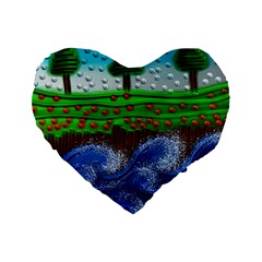 Beaded Landscape Textured Abstract Landscape With Sea Waves In The Foreground And Trees In The Background Standard 16  Premium Heart Shape Cushions