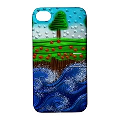 Beaded Landscape Textured Abstract Landscape With Sea Waves In The Foreground And Trees In The Background Apple Iphone 4/4s Hardshell Case With Stand