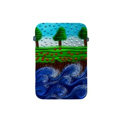 Beaded Landscape Textured Abstract Landscape With Sea Waves In The Foreground And Trees In The Background Apple Ipad Mini Protective Soft Cases