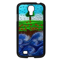 Beaded Landscape Textured Abstract Landscape With Sea Waves In The Foreground And Trees In The Background Samsung Galaxy S4 I9500/ I9505 Case (black)