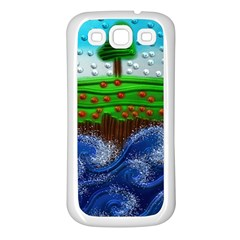 Beaded Landscape Textured Abstract Landscape With Sea Waves In The Foreground And Trees In The Background Samsung Galaxy S3 Back Case (white)