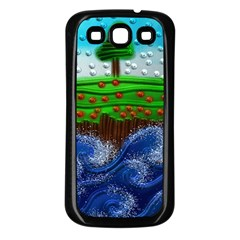 Beaded Landscape Textured Abstract Landscape With Sea Waves In The Foreground And Trees In The Background Samsung Galaxy S3 Back Case (black)