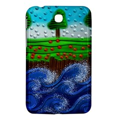 Beaded Landscape Textured Abstract Landscape With Sea Waves In The Foreground And Trees In The Background Samsung Galaxy Tab 3 (7 ) P3200 Hardshell Case