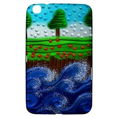 Beaded Landscape Textured Abstract Landscape With Sea Waves In The Foreground And Trees In The Background Samsung Galaxy Tab 3 (8 ) T3100 Hardshell Case