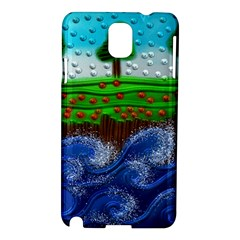 Beaded Landscape Textured Abstract Landscape With Sea Waves In The Foreground And Trees In The Background Samsung Galaxy Note 3 N9005 Hardshell Case