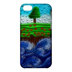 Beaded Landscape Textured Abstract Landscape With Sea Waves In The Foreground And Trees In The Background Apple Iphone 5c Hardshell Case