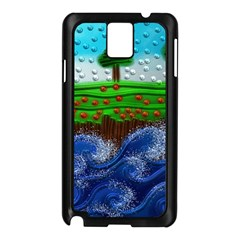 Beaded Landscape Textured Abstract Landscape With Sea Waves In The Foreground And Trees In The Background Samsung Galaxy Note 3 N9005 Case (black)