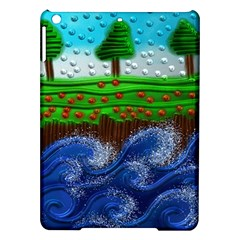 Beaded Landscape Textured Abstract Landscape With Sea Waves In The Foreground And Trees In The Background Ipad Air Hardshell Cases