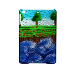 Beaded Landscape Textured Abstract Landscape With Sea Waves In The Foreground And Trees In The Background Ipad Mini 2 Hardshell Cases