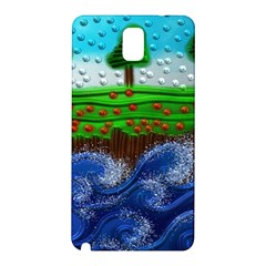 Beaded Landscape Textured Abstract Landscape With Sea Waves In The Foreground And Trees In The Background Samsung Galaxy Note 3 N9005 Hardshell Back Case