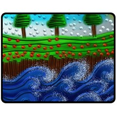 Beaded Landscape Textured Abstract Landscape With Sea Waves In The Foreground And Trees In The Background Double Sided Fleece Blanket (medium)
