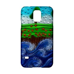 Beaded Landscape Textured Abstract Landscape With Sea Waves In The Foreground And Trees In The Background Samsung Galaxy S5 Hardshell Case