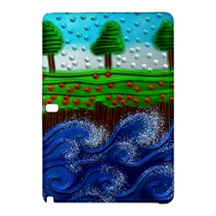 Beaded Landscape Textured Abstract Landscape With Sea Waves In The Foreground And Trees In The Background Samsung Galaxy Tab Pro 12 2 Hardshell Case