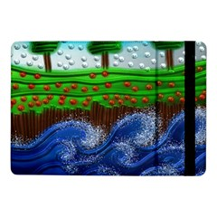 Beaded Landscape Textured Abstract Landscape With Sea Waves In The Foreground And Trees In The Background Samsung Galaxy Tab Pro 10 1  Flip Case