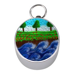 Beaded Landscape Textured Abstract Landscape With Sea Waves In The Foreground And Trees In The Background Mini Silver Compasses