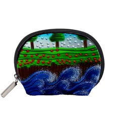 Beaded Landscape Textured Abstract Landscape With Sea Waves In The Foreground And Trees In The Background Accessory Pouches (small)