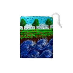 Beaded Landscape Textured Abstract Landscape With Sea Waves In The Foreground And Trees In The Background Drawstring Pouches (small)